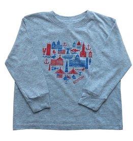 Sidetrack Sidetrack Grey Boston Icon Long Tee Shirt