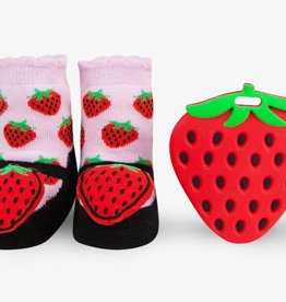 Waddle Waddle Strawberry Teether and Rattle Socks Gift Set