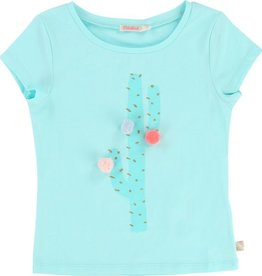 Billieblush Billieblush Jersey Tee with Cactus Graphic and Pom Poms