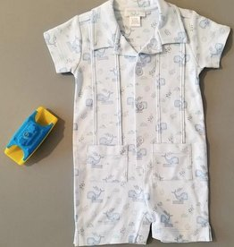 Feather Baby Feather Baby Sleepy Whales Pleated Guayabera-Style Romper