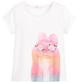 Billieblush Billieblush Short Sleeve Jersey Tee with Dog