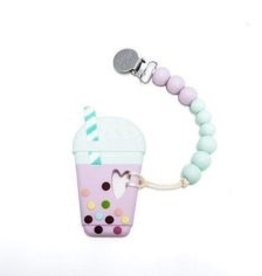 Loulou Lollipop Loulou Lollipop Lilac Taro Milk Tea Silicone Teether with Holder Set