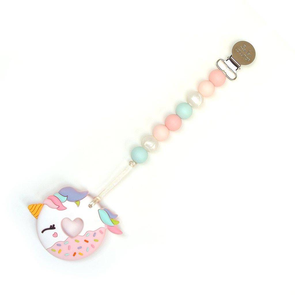 Loulou Lollipop Loulou Lollipop Pink Unicorn Donut Silicone Teether with Holder Set
