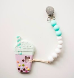 Loulou Lollipop Loulou Lollipop Aqua Bubble Milk Tea Silicone Teether with Holder Set