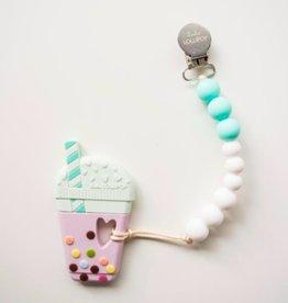 Loulou Lollipop Loulou Lollipop Aqua Bubble Milk Tea Silicone Teether with Holder Set