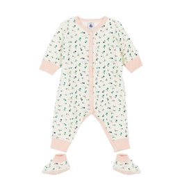 Petit Bateau Petit Bateau Terry Printed Romper with Booties