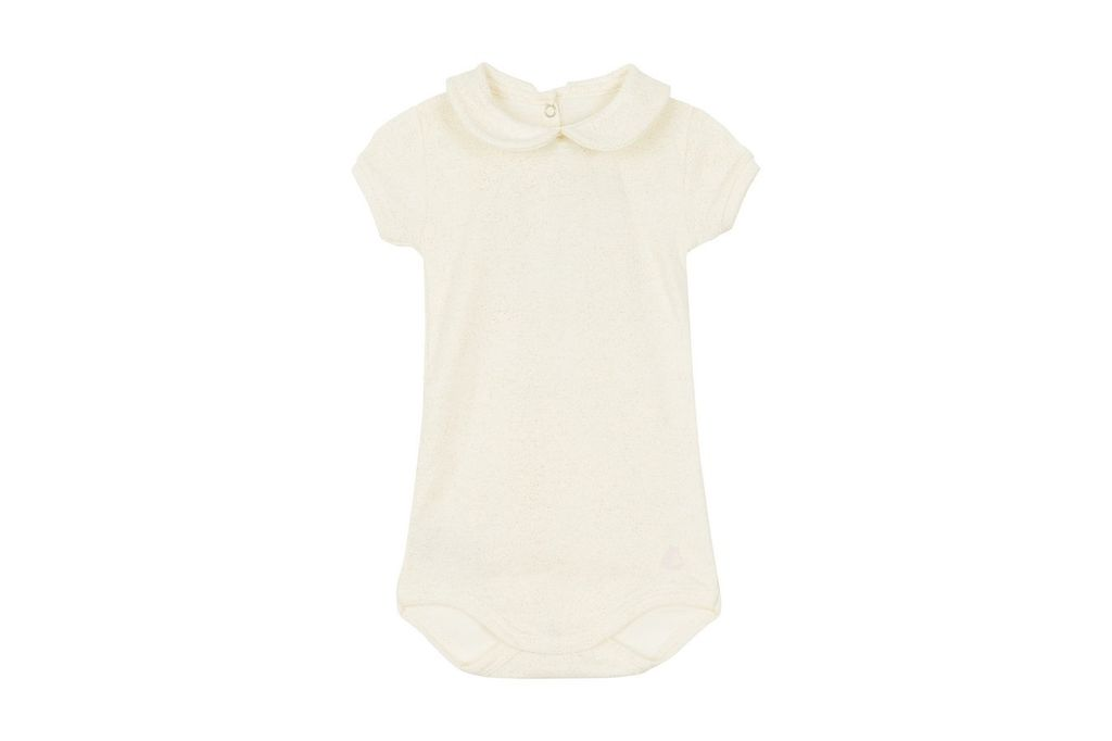 Petit Bateau Petit Bateau Short Sleeve Sparkle Bodysuit with Collar