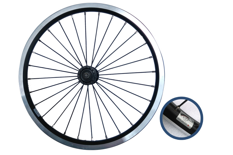 "Brompton Brompton Standard front wheel, 16"", Black, includes fixings"