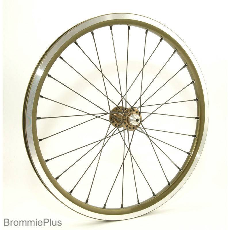 2 Speed Lightweight Wheelset for Brompton, Raw Lacquer w/Black Spokes