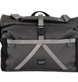 Brompton Brompton Borough Roll Top L Bag, Dark Grey, with frame