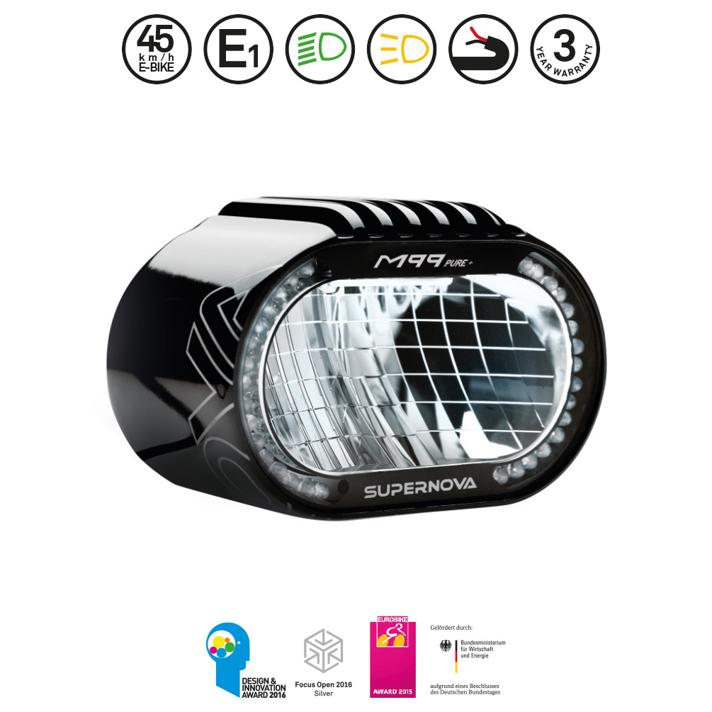 Supernova M99 Pure+ eBike Headlight: Black