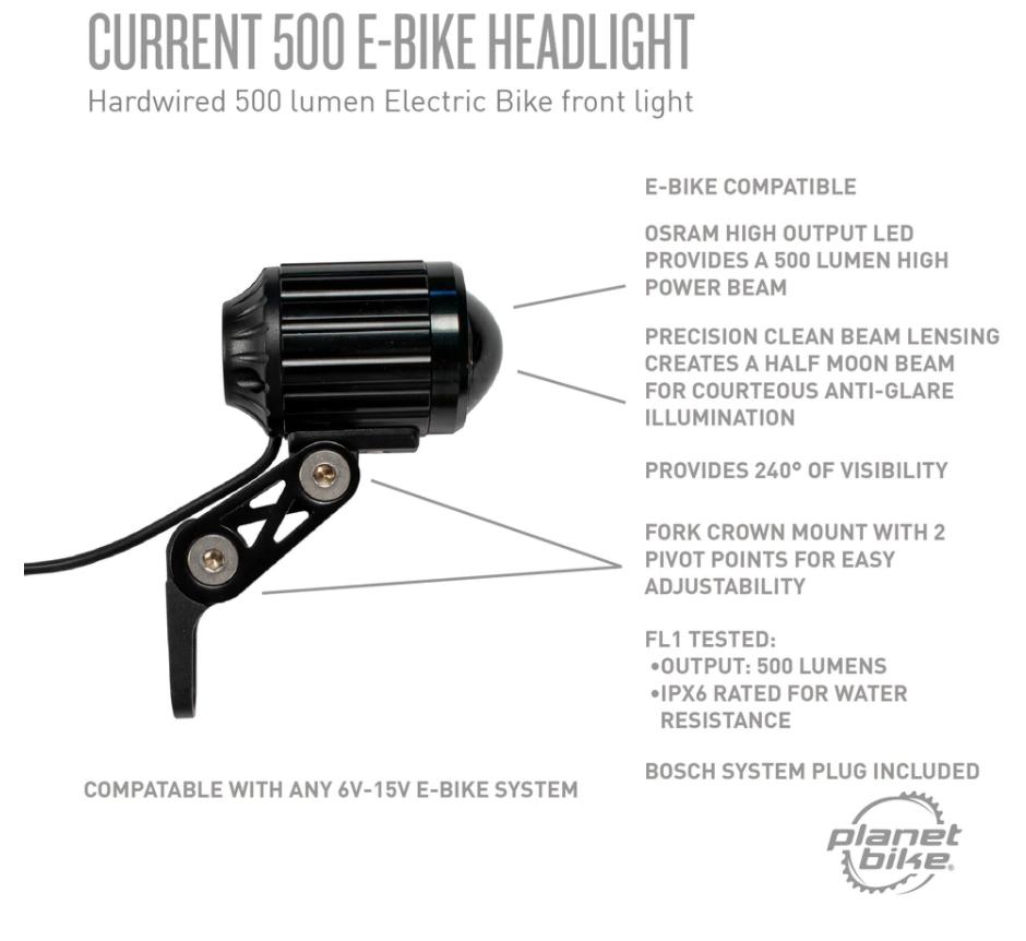 Planet Bike Planet Bike Current 500 PlugnPlay eBike Headlight