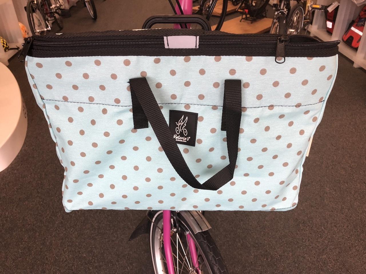 Brompton Valeria's Folding Basket for Brompton - Brown Dot Turquese