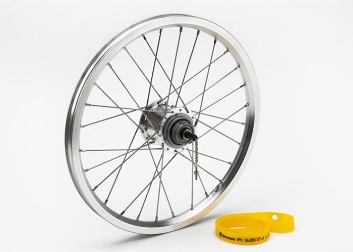Brompton 3 speed Rear Wheel Silver BSR Hub/Silver Rim, includes fittings