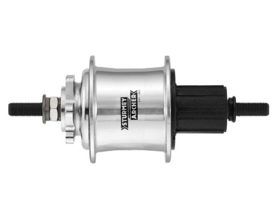 Sturmey Archer 3x9-spd Freewheel Hub, 32h - Silver, 6-Bolt Disc