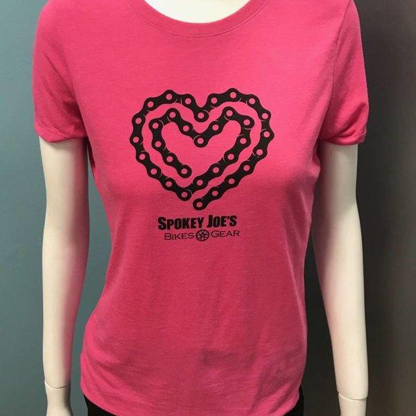 Spokey Joe's Logo Gear Spokey Joe's Chain Heart Tee, Pink