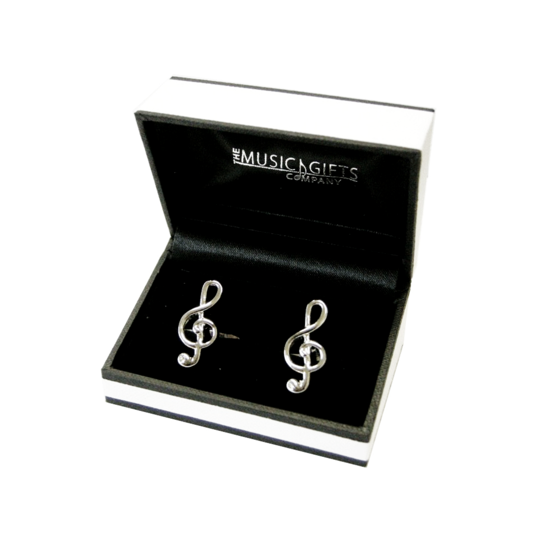Black and White Treble Clef Cufflinks with Crystal Stylish Music Cuff Links New