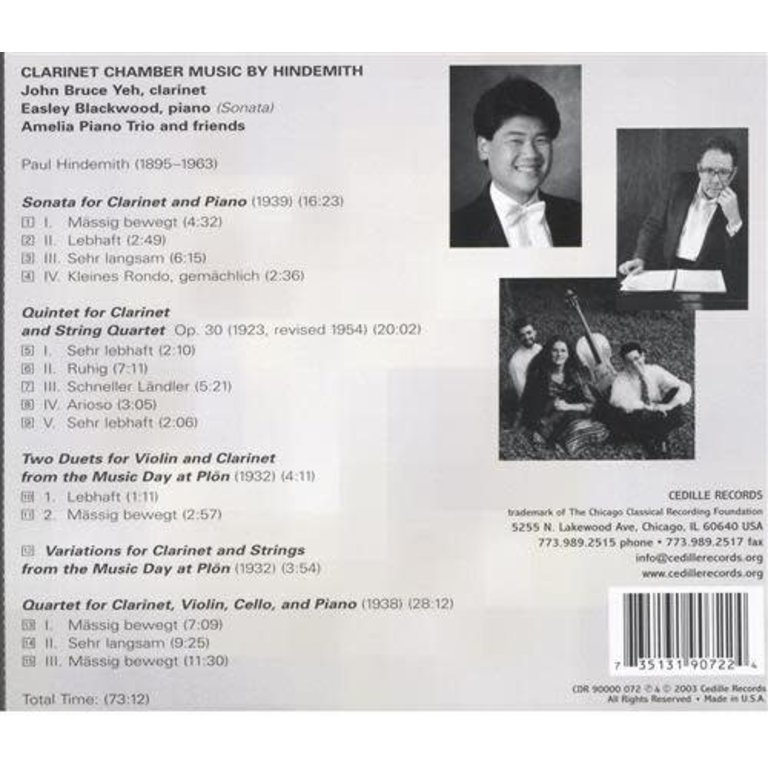 Symphony Store - CD - Hindemith: Clarinet Chamber Music, Yeh