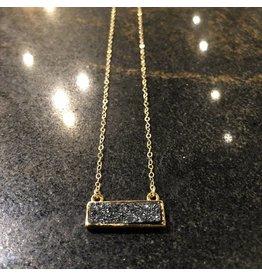 Gold Filled Druzy Bar Necklace