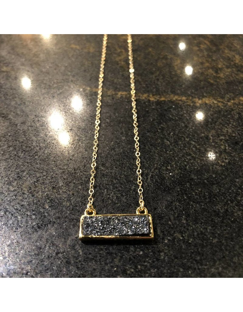 Gold Filled Druzy Bar Necklace