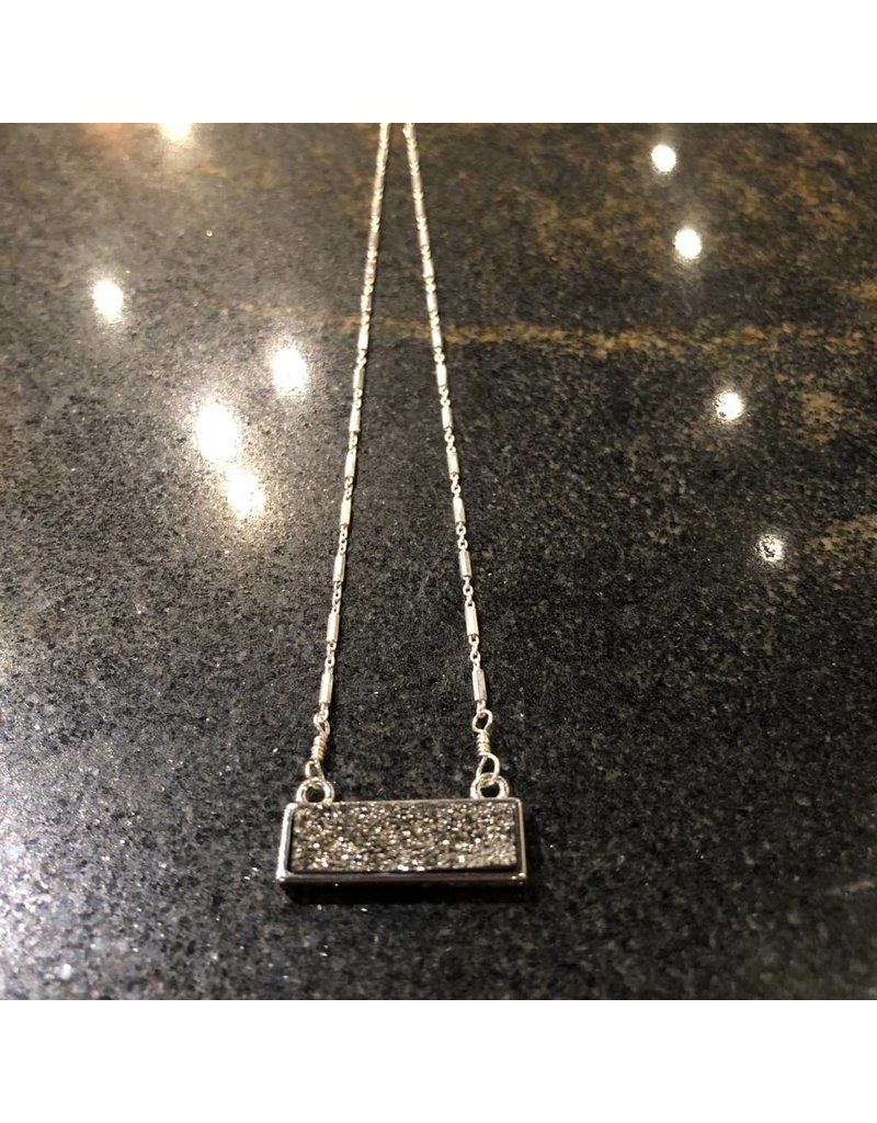 Sterling Silver Druzy Bar Necklace
