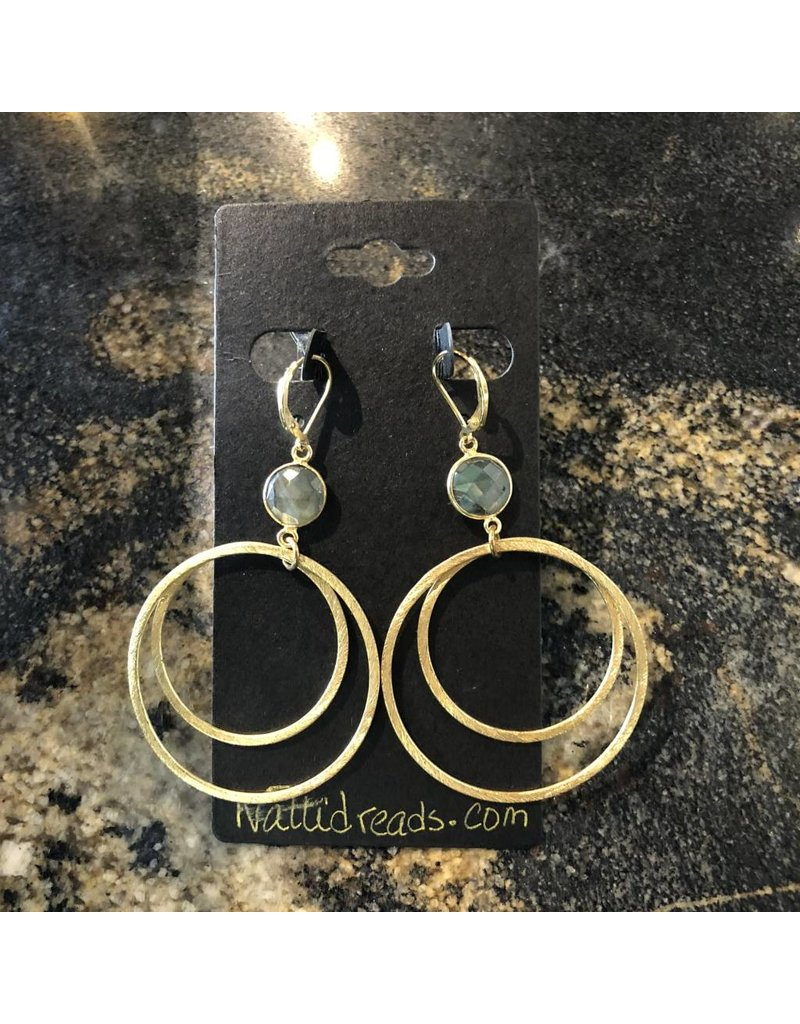 Gold Double Dangle Hoop w/ Labrodite