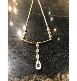 Gold CZ Crystal Droplet Necklace