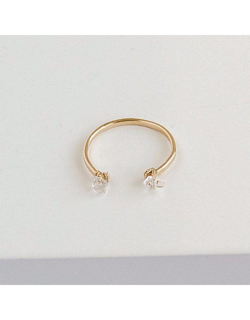SERAPHINA Breathe Cuff Ring w/ Herkimer Diamonds