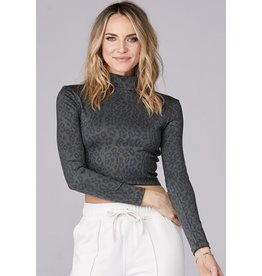 David Lerner Mock Neck Crop Top