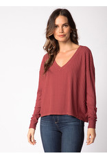 Red Haute Boxy V-Neck Top