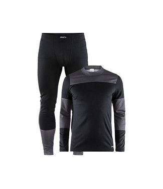 Craft BASELAYER SET M, BLACK/DK GREY MELANGE