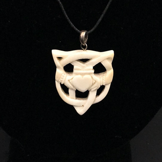 Hex Bone Claddagh  with Triquetra Necklace.