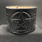 Hex 2 1/4 In. Center Pentagram & Skull/Bones in Webs Single Closure Leather Cuff