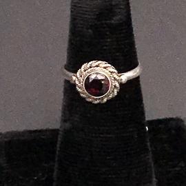 Hex Petite Garnet Ring