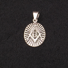 Hex Sterling Silver Masonic Pendant Deco
