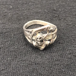 Hex Santa Muerte Sterling Silver Ring