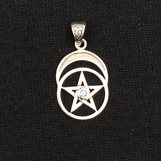 Hex Pentacle with Moon and Blue Topaz