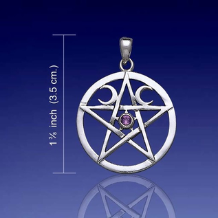 Hex Pentacle with Moons and Amethyst