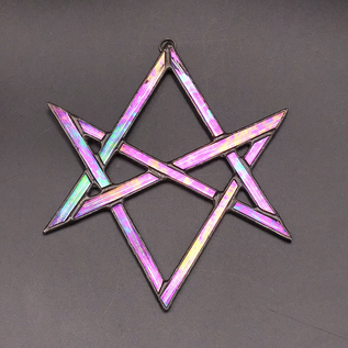 Hex Unicursal Hexagram Suncatcher in Opalescent