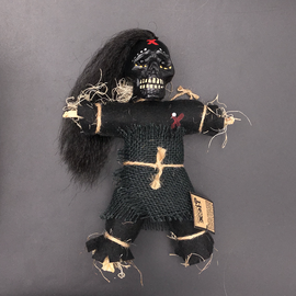Hex Mama JuJu New Orleans Voodoo Doll. Black Doll with Black Burlap Dress and Hair.