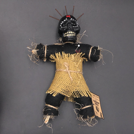 Hex Mama JuJu New Orleans Voodoo Doll. Black Doll with Brown Burlap Dress and Nails