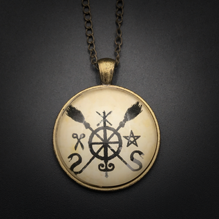 Hex Banishing Talisman in Antique Brass with Glass Cabochon