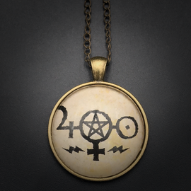 Hex Job Mojo Talisman in Antique Brass with Glass Cabochon