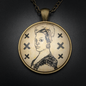 Hex Marie Laveau Talisman in Antique Brass with Glass Cabochon