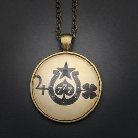 Hex Luck Talisman in Antique Brass with Glass Cabochon
