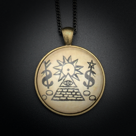 Hex Money Talisman in Antique Brass with Glass Cabochon