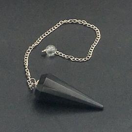 Hex Black Agate 12 Faceted Pendulum