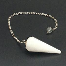 Hex White Agate 12 Faceted Pendulum