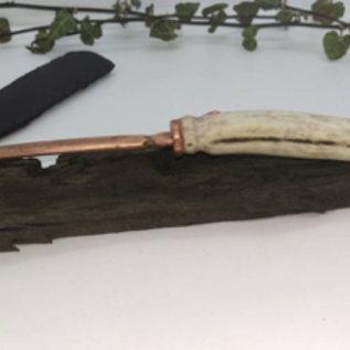 Hex Hand Cast Copper Athame With Antler Handle