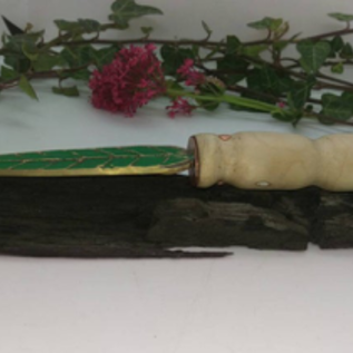 Hex Bronze Bladed Athame With a Hazel Wood Handle and Green Enamel